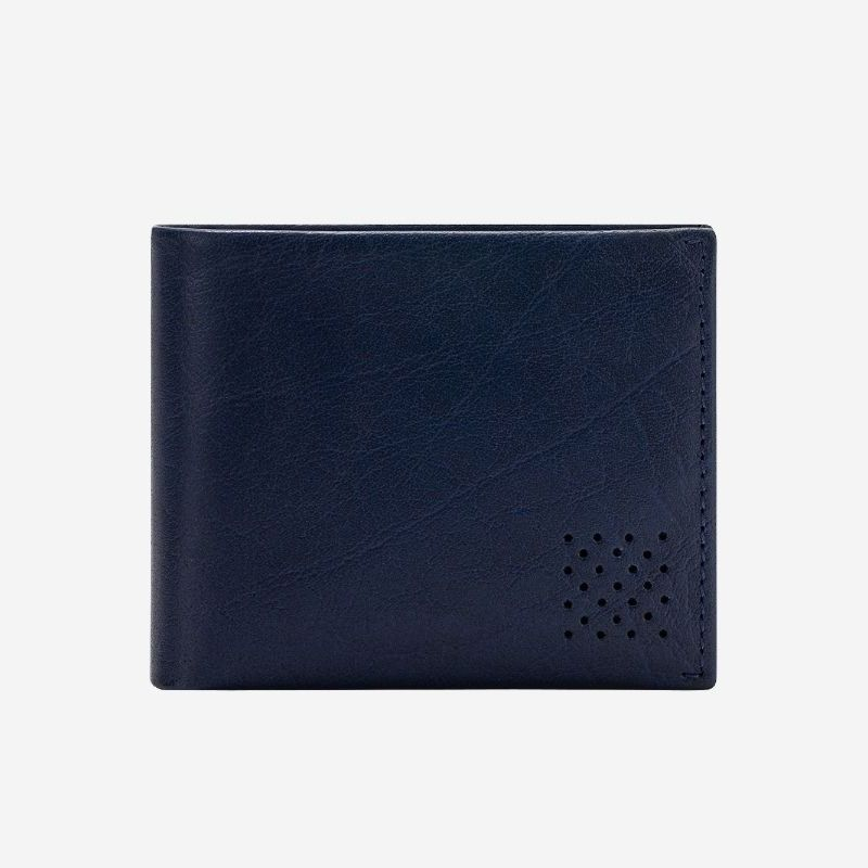 DuDu Mens Minimalist Leather Wallet with Coin Holder - Blue