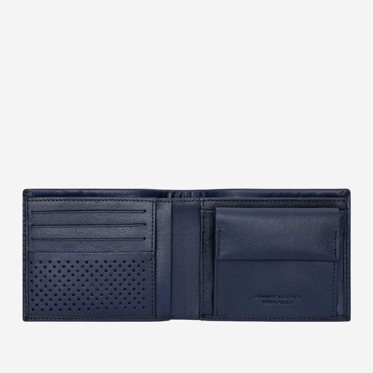 Mens Minimalist Leather Wallet with Coin Holder - Blue