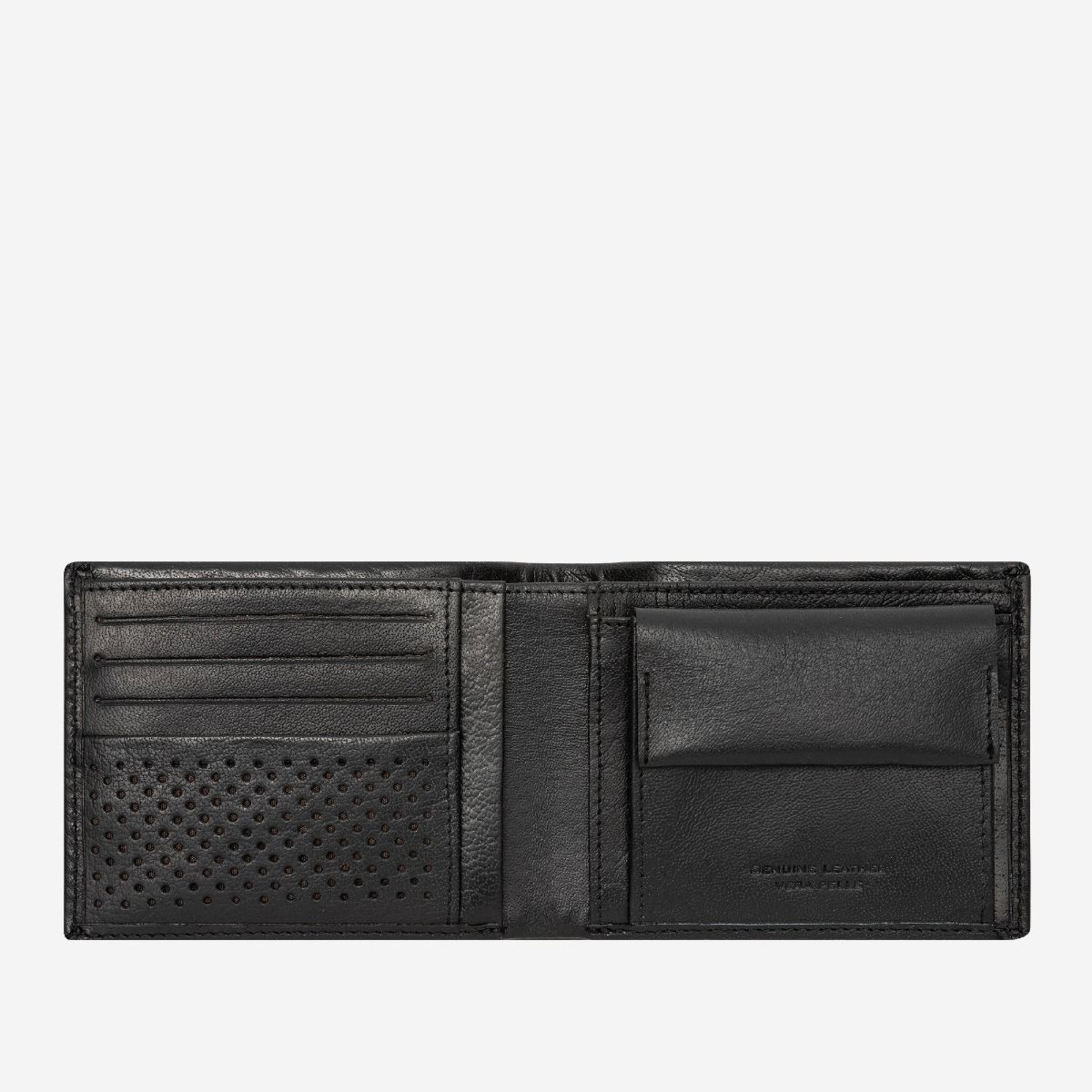 Mens Minimalist Leather Wallet with Coin Holder - Black