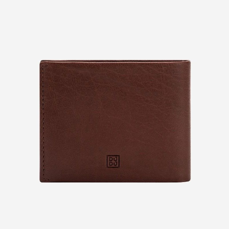 DuDu Mens Minimalist Leather Wallet with Coin Holder - Brown