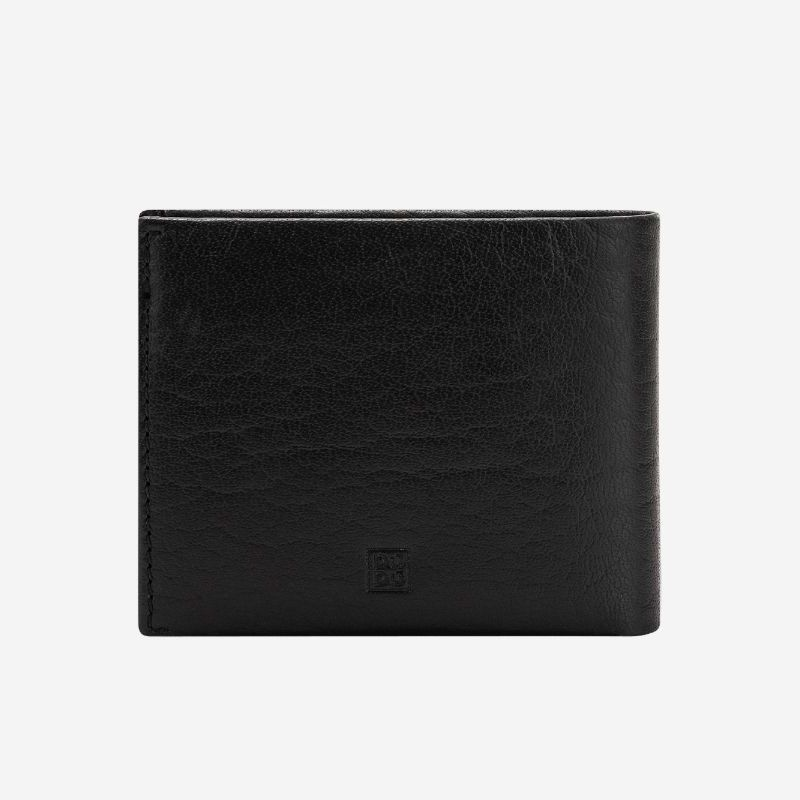 DuDu Mens Minimalist Leather Wallet with Coin Holder - Black