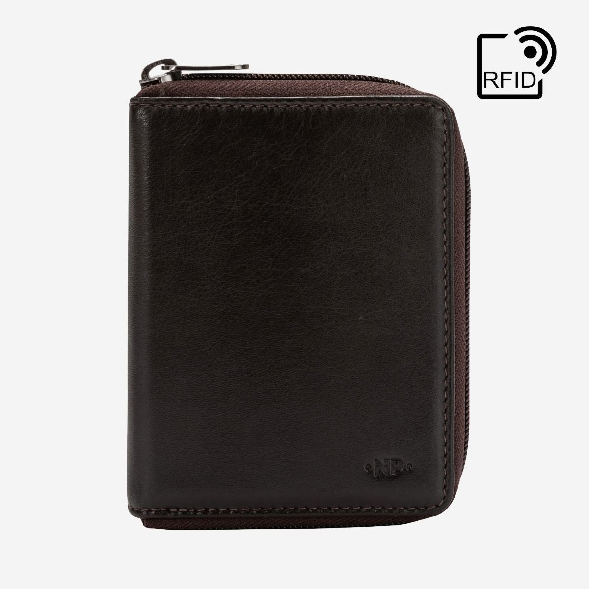 NUVOLA PELLE RFID Mens Leather Wallet with Zip - Dark Brown