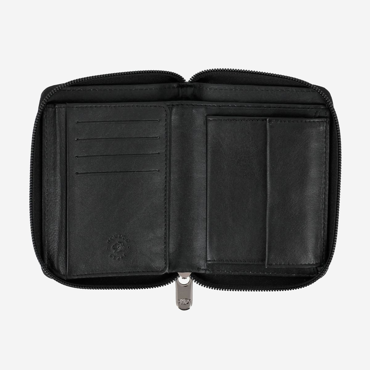 NUVOLA PELLE Mens Leather Wallet with Zip - Black
