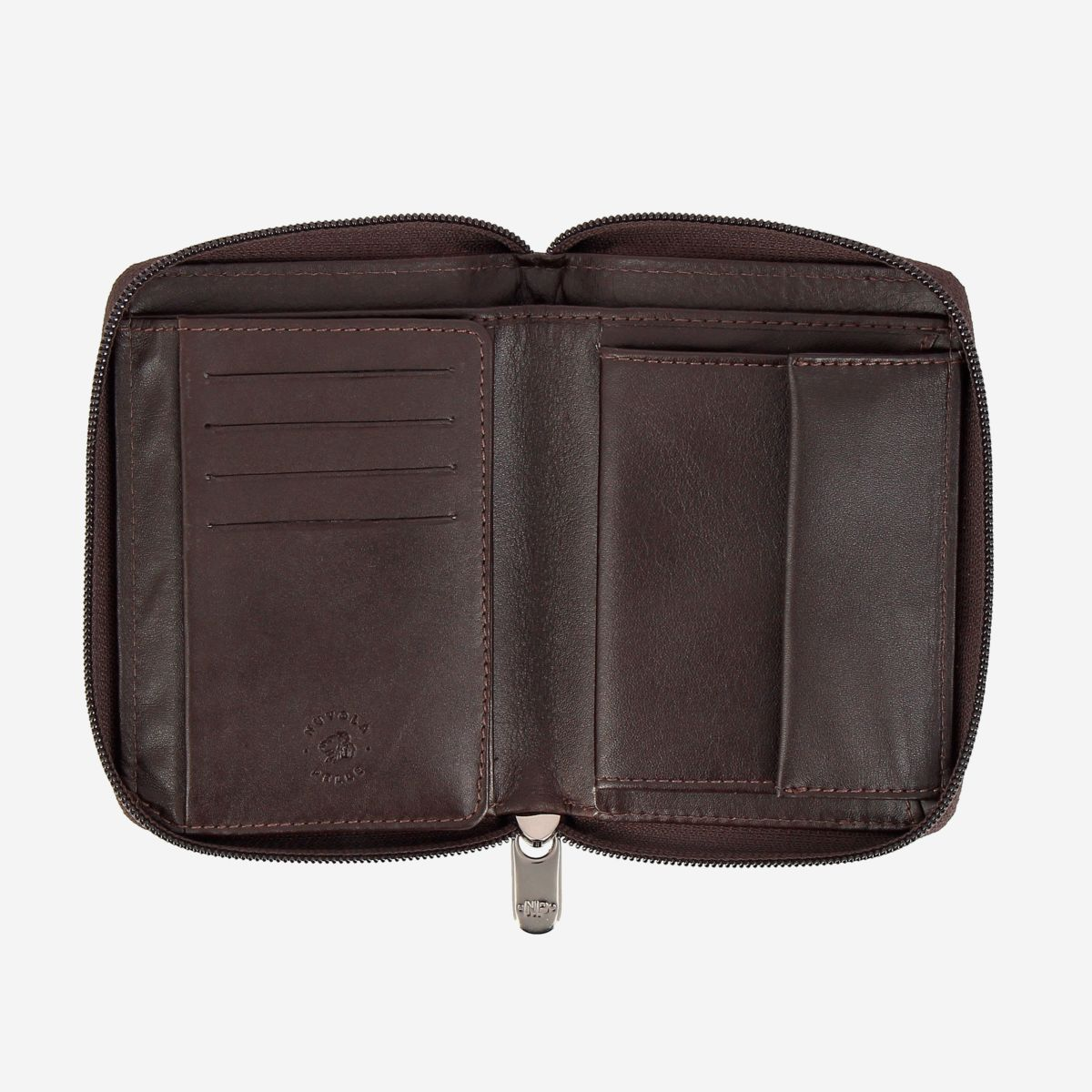 NUVOLA PELLE Mens Leather Wallet with Zip - Dark Brown