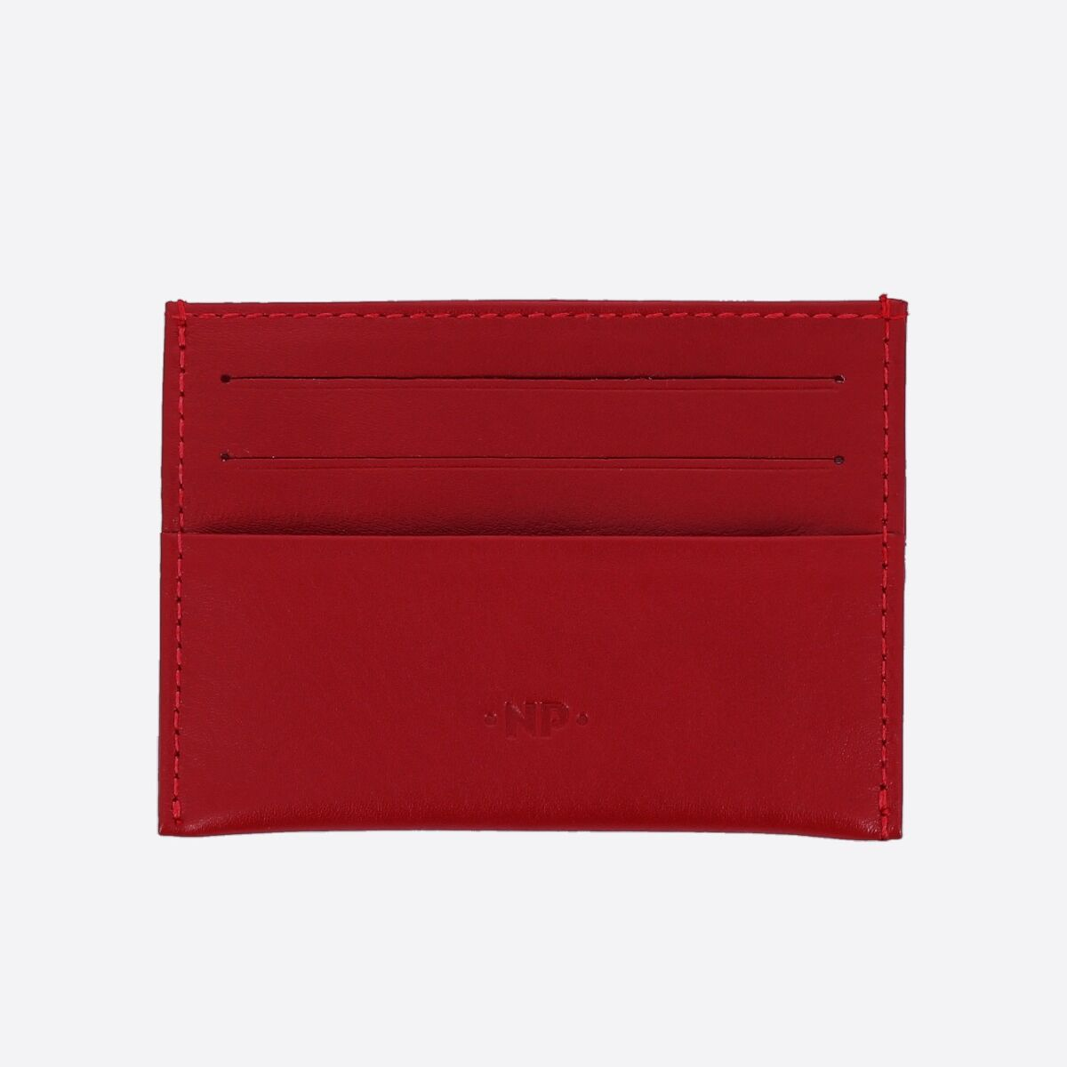 Minimalist leather credit card wallet - Red