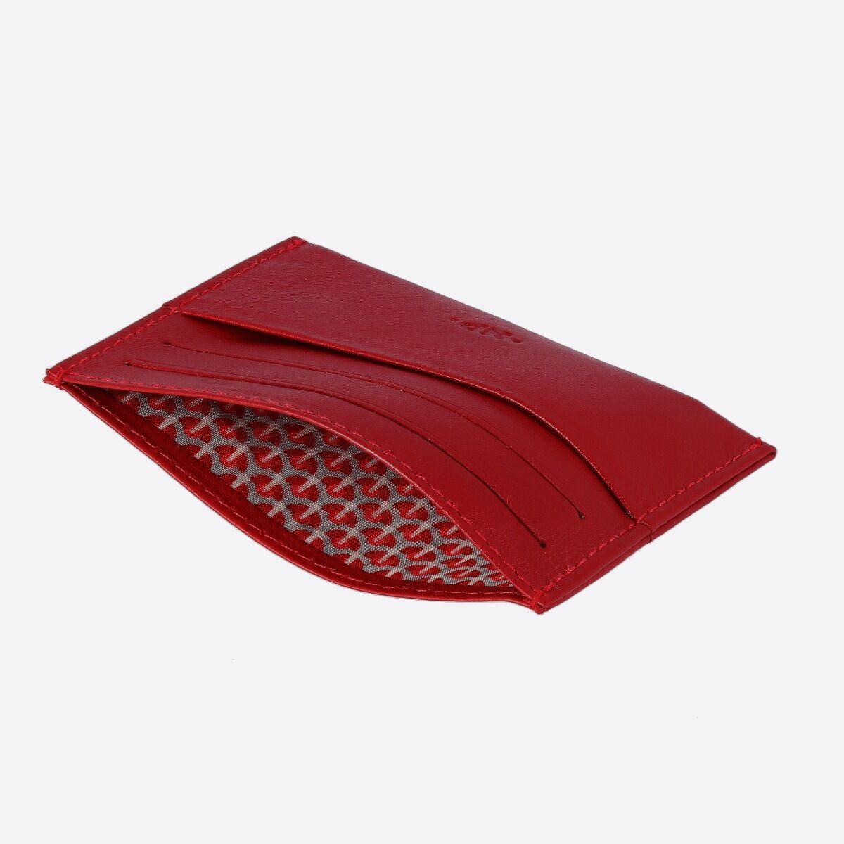 NUVOLA PELLE ארנק מינימלסטי עם 7 תאים - אדום