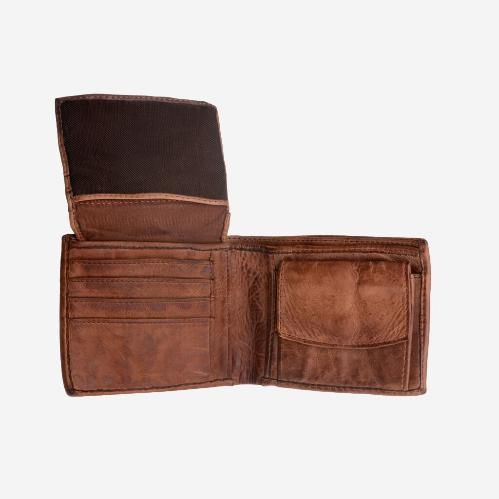 DuDu Mans hand-made soft natural high quality leather wallet - Onyx Brown
