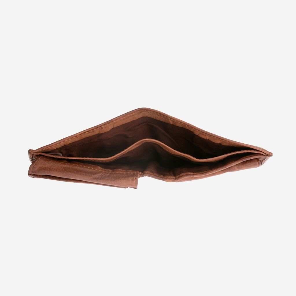 DuDu ארנק עור בעבודת יד עם תא למטבעות - חום כהה
