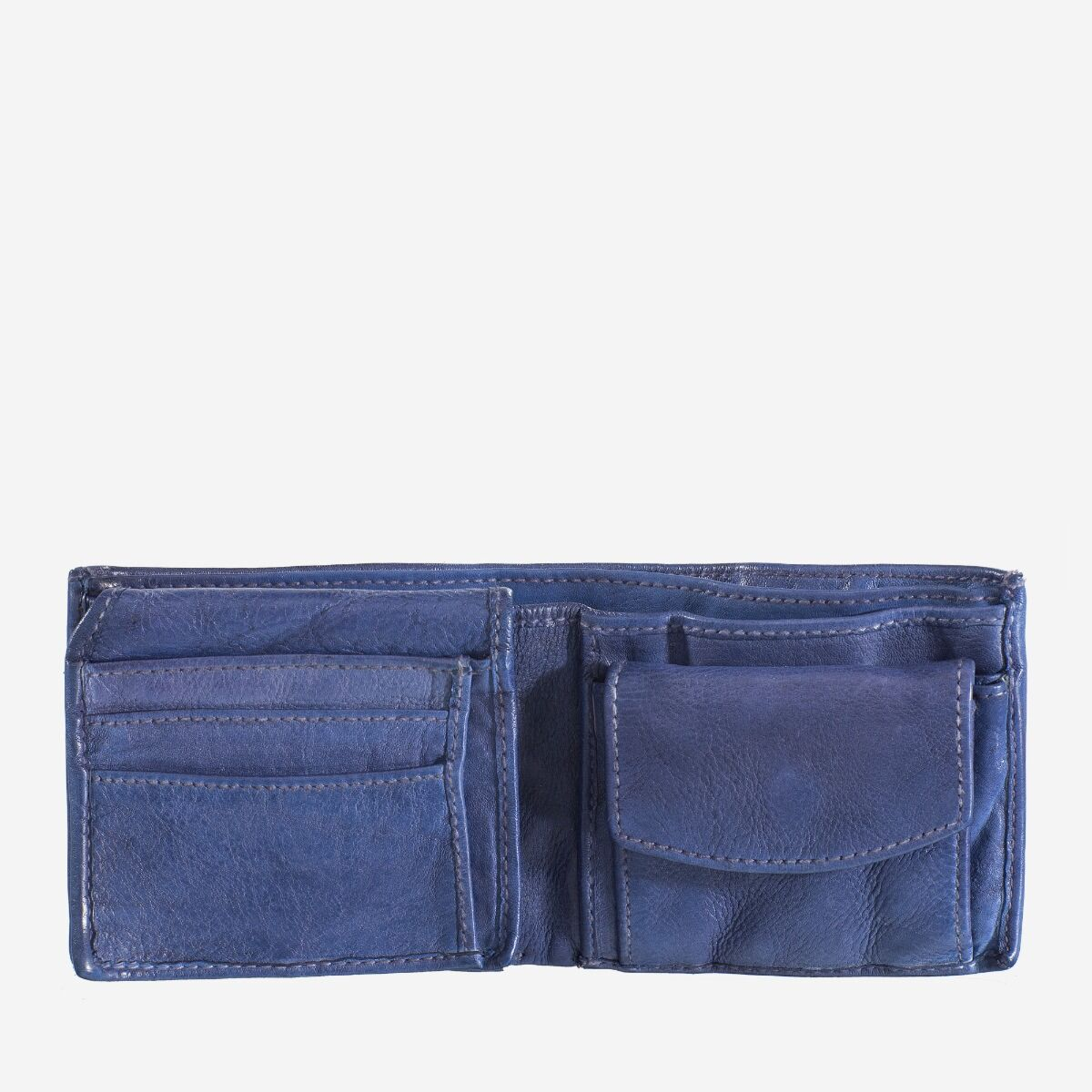 Mans hand-made soft natural high quality leather wallet - Indigo Blue