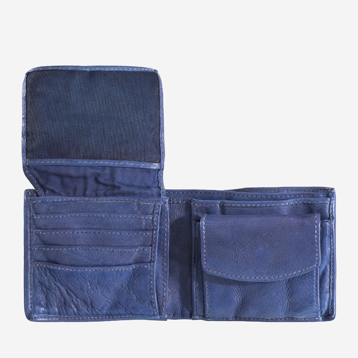 DuDu Mans hand-made soft natural high quality leather wallet - Indigo Blue