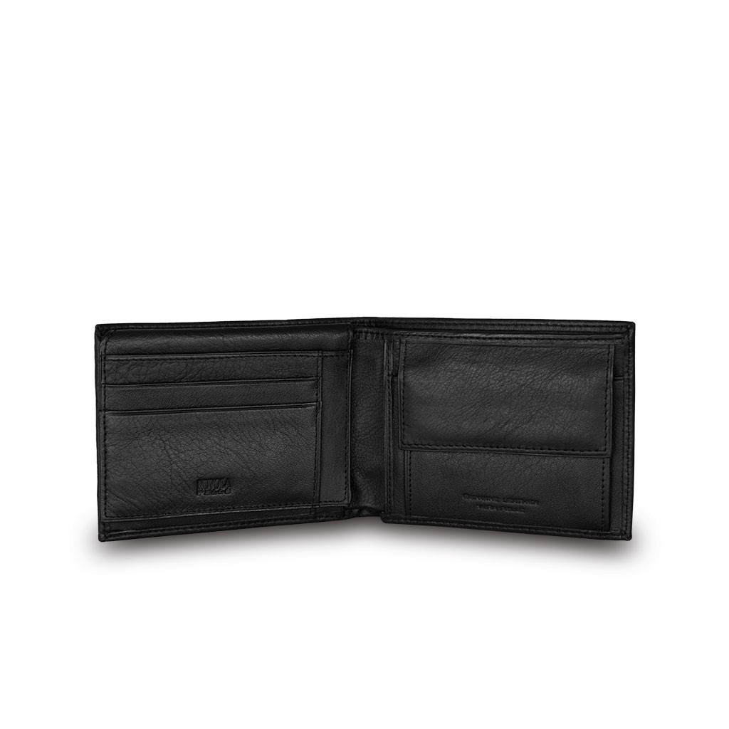 NUVOLA PELLE Classic mans leather billfold wallet - Black