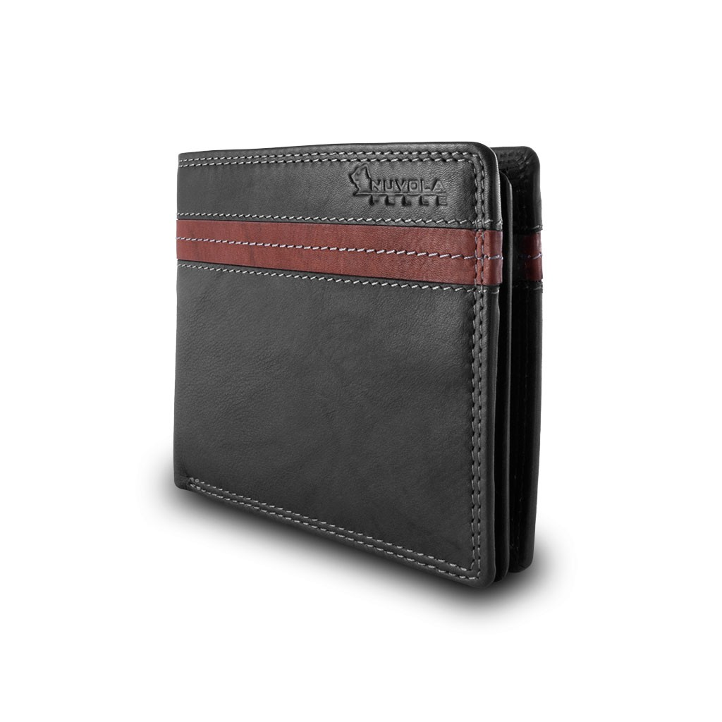 NUVOLA PELLE ארנק עור שני צבעים עם תא למטבעות - שחור\חום