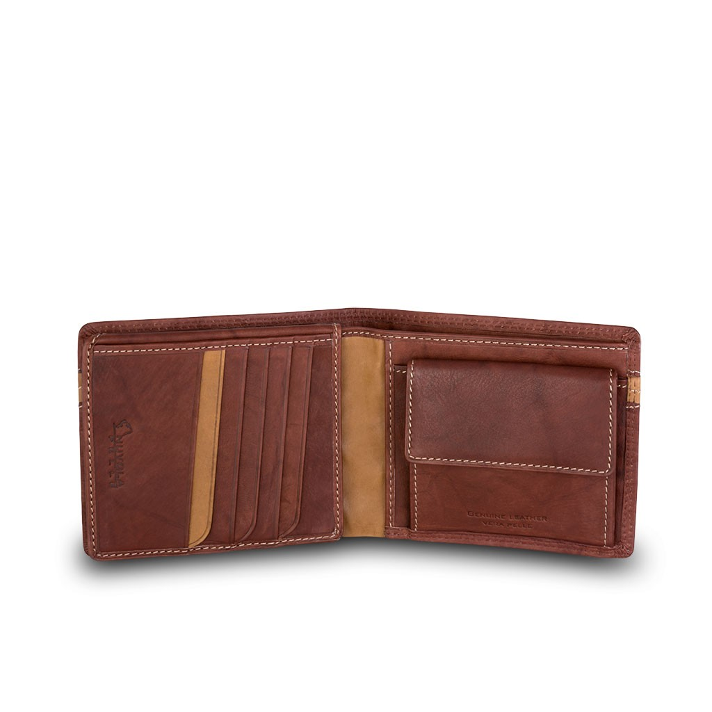 NUVOLA PELLE Two-color mans billfold wallet - Dark Brown