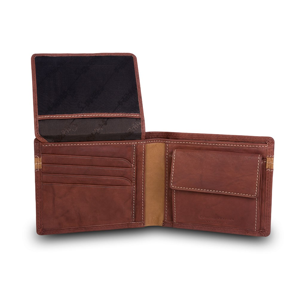 NUVOLA PELLE ארנק עור שני צבעים עם תא למטבעות - חום כהה
