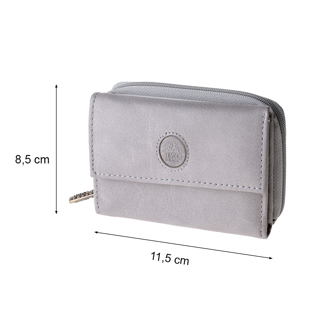 NUVOLA PELLE Woman Lather Wallet with Closure and Flap - Gray