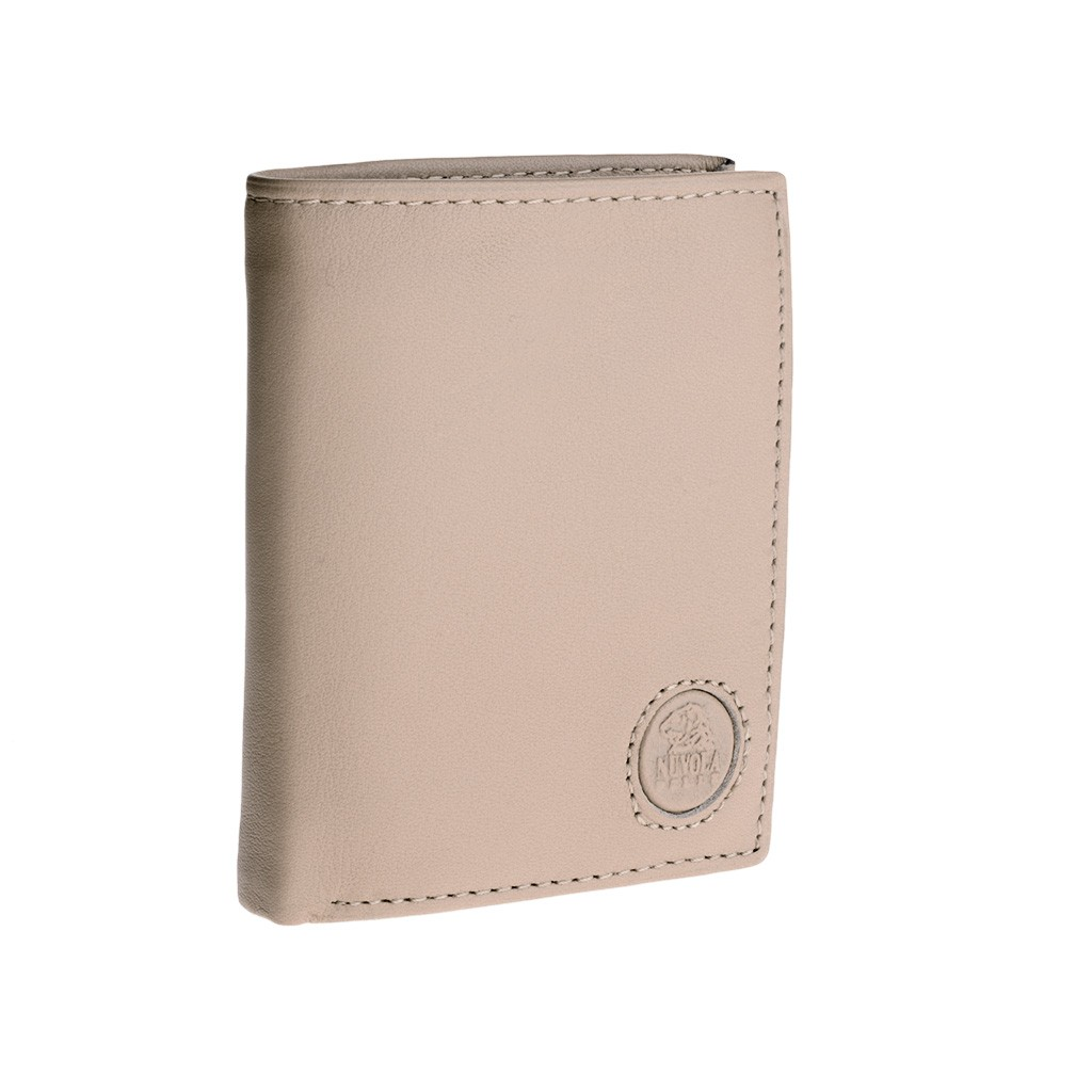 Vertical small leather wallet - Natural