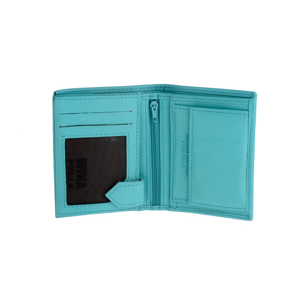 NUVOLA PELLE Vertical small leather wallet - Turquoise
