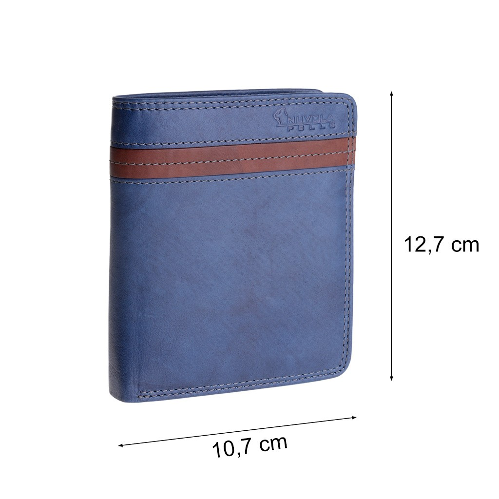 NUVOLA PELLE Man large two-color wallet - Blue/Brown
