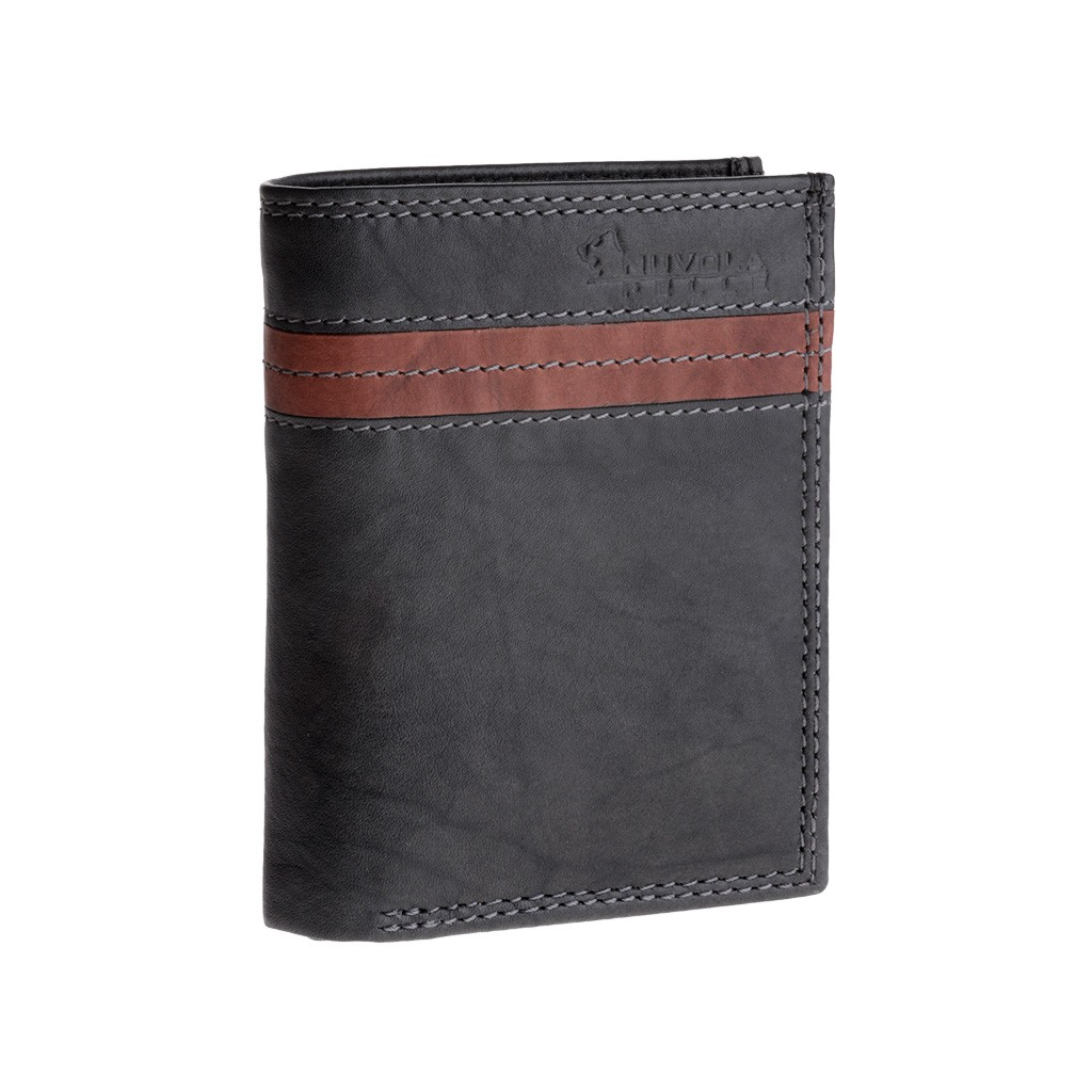 Vertical small leather wallet with coin pocket - Black/Brown