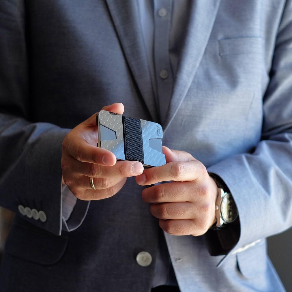 elephant ארנק קרבון מינימליסטי - קרבון\כחול