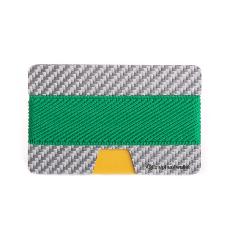elephant Minimalist White Carbon Fiber Wallet - Carbon/Green