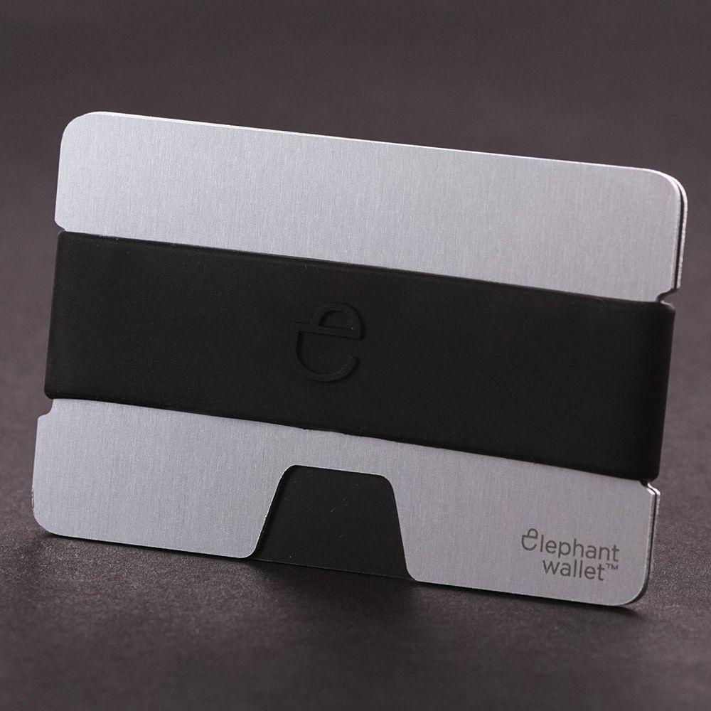 elephant Minimalist Aluminum Wallet With Silicone Strap - Aluminum/Black