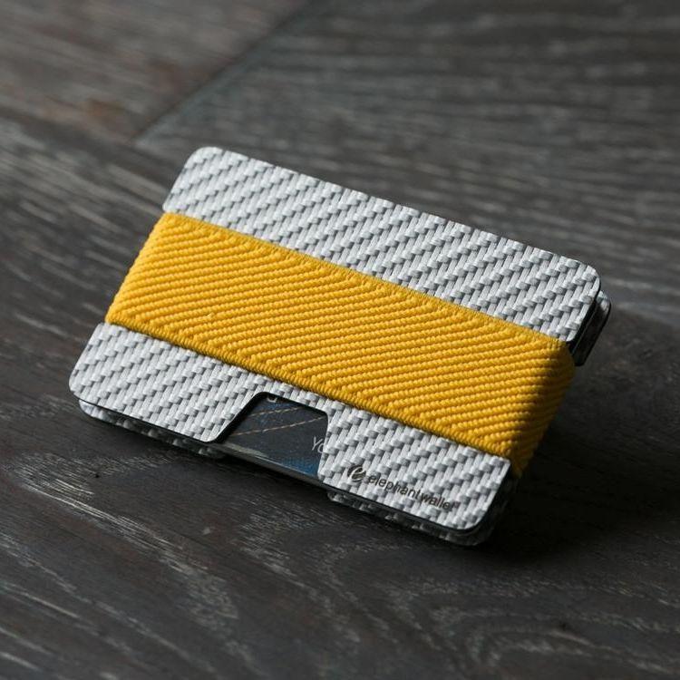 elephant Minimalist Carbon Fiber Wallet - Carbon/Yellow