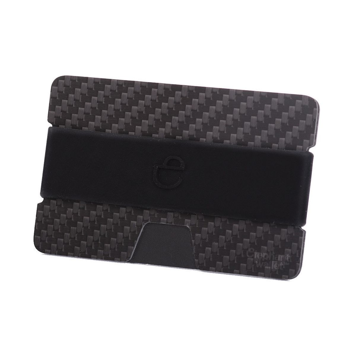 elephant Minimalist Carbon Fiber Wallet with Silicone Strap - Carbon/Black