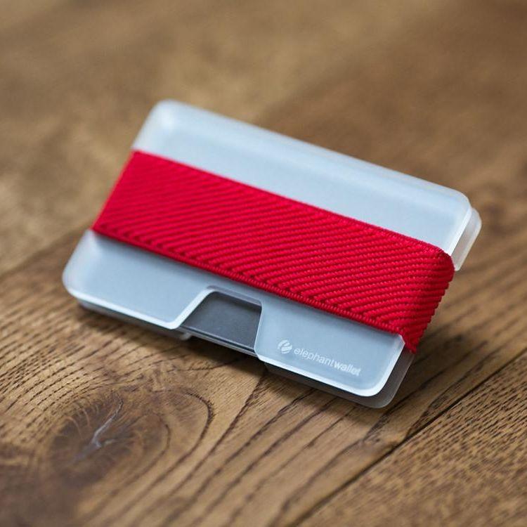 elephant Minimalist Plexi Wallet - Clear/Red