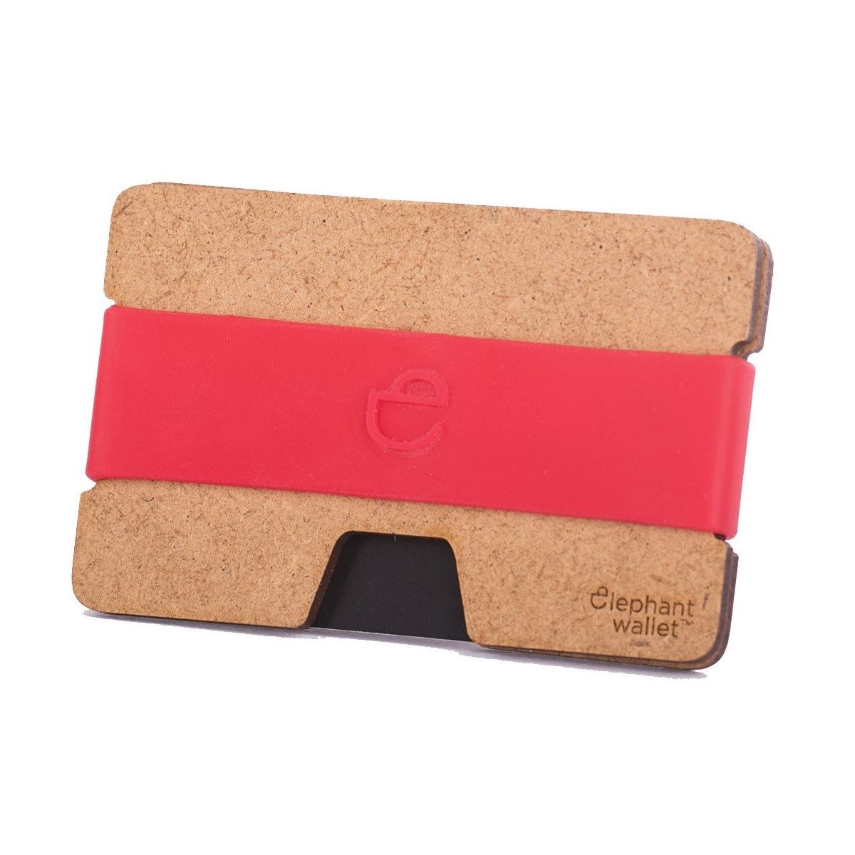 elephant Minimalist Wood Wallet - Wood/Red