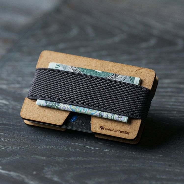 elephant Minimalist Wood Wallet - Wood/Gray