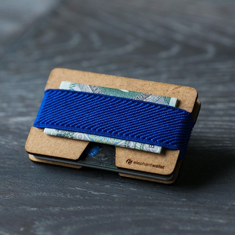 elephant Minimalist Wood Wallet - Wood/Blue