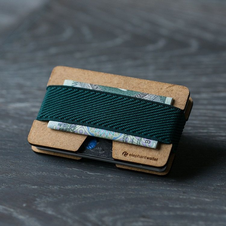 elephant Minimalist Wood Wallet - Wood/Dark Green