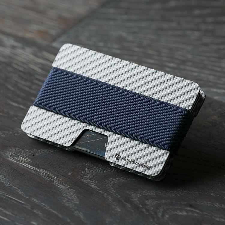 elephant Minimalist White Carbon Fiber Wallet - Carbon/Jeans