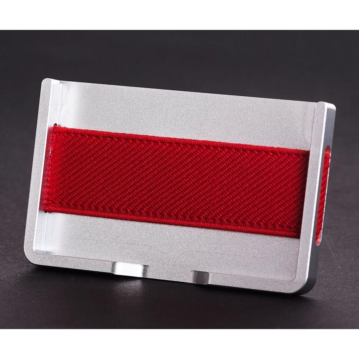 elephant Minimalist Aluminum Wallet - Silver/Red