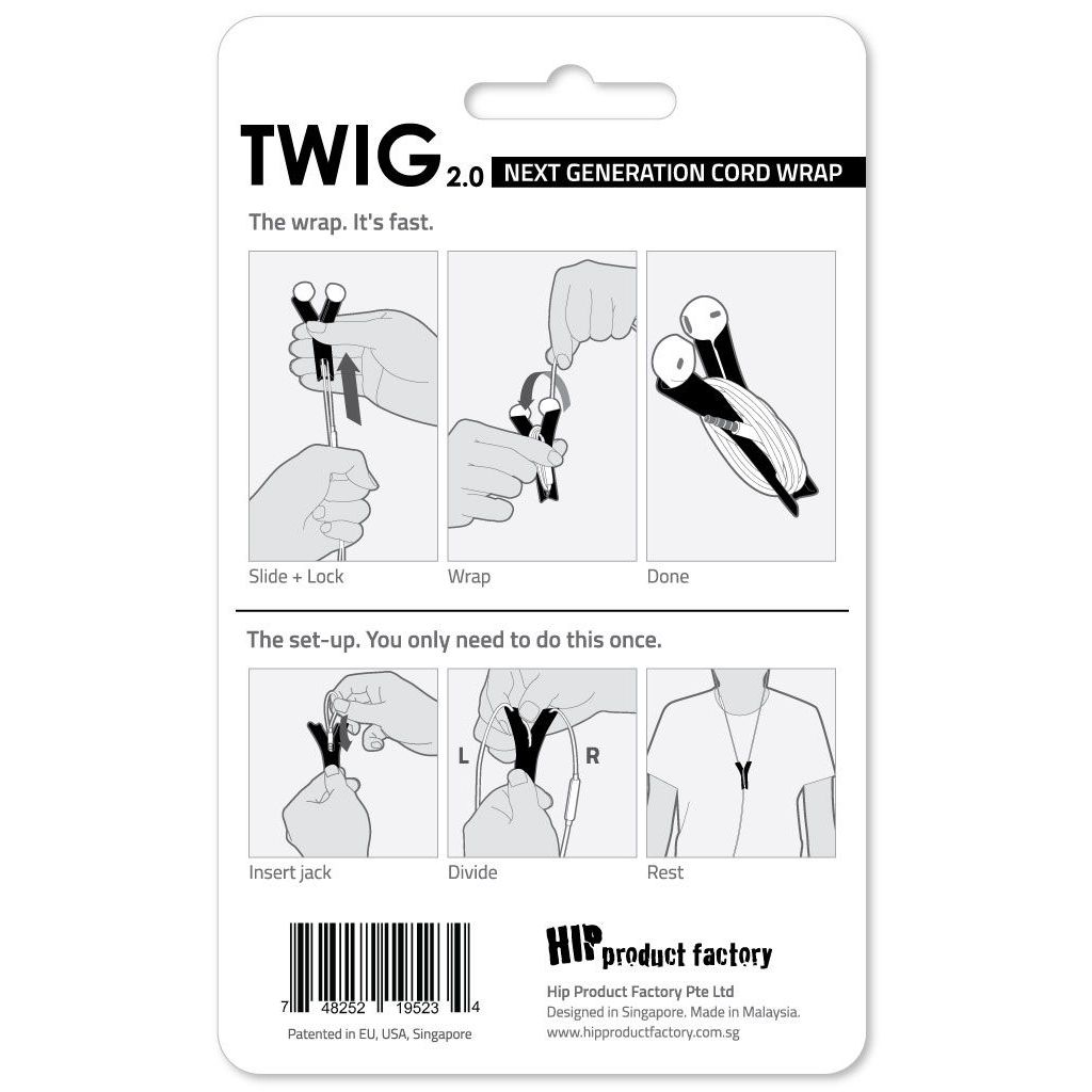 HIP TWIG headphone cord anti tangler for iPhone and Samsung - Black