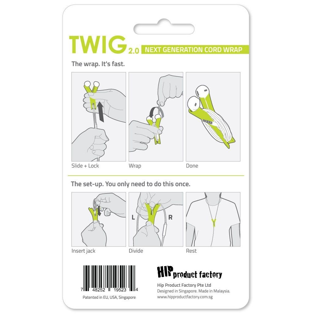 HIP TWIG headphone cord anti tangler for iPhone and Samsung - Green