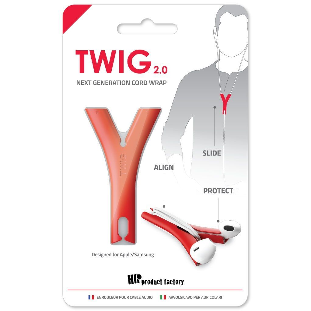 HIP TWIG headphone cord anti tangler for iPhone and Samsung - Red
