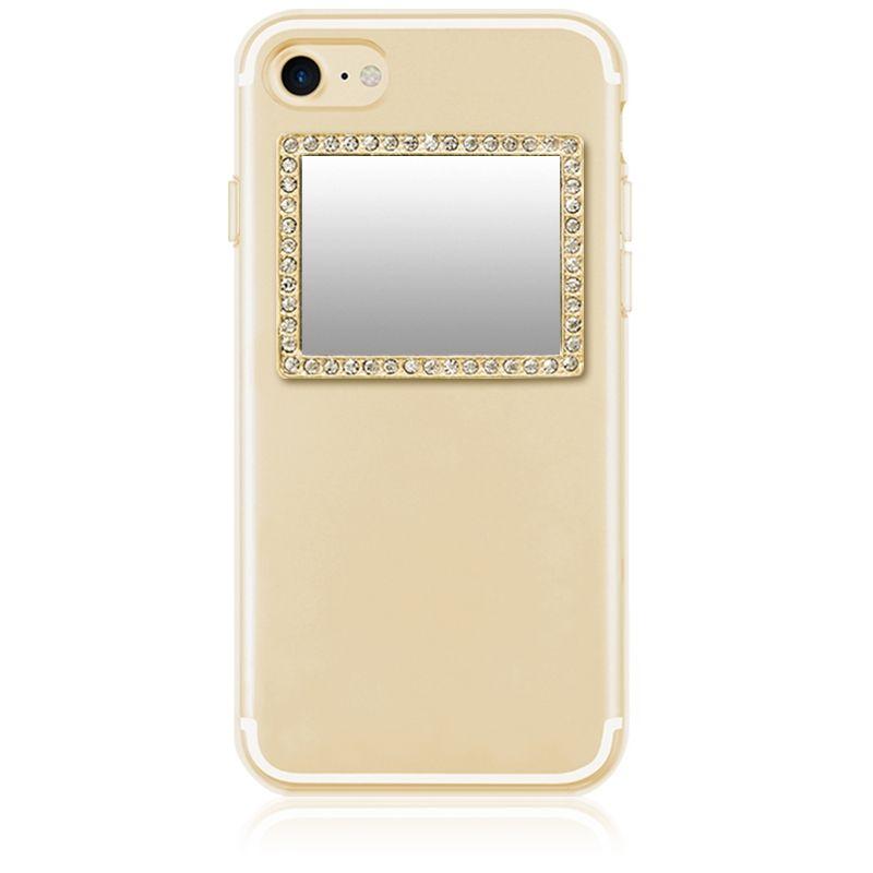 iDecoz מראה מלבנית בלתי שבירה לטלפון - מוזהב בשילוב קריסטלים