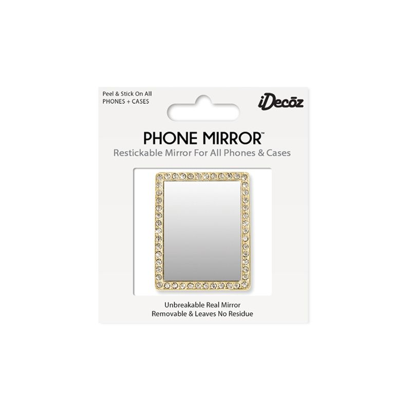 iDecoz Unbreakable Rectangle Phone Mirror - Gold with Crystals