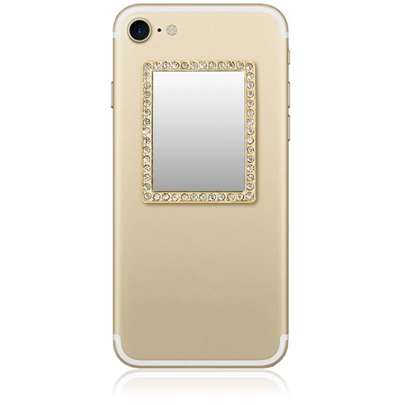 Unbreakable Rectangle Phone Mirror - Gold with Crystals