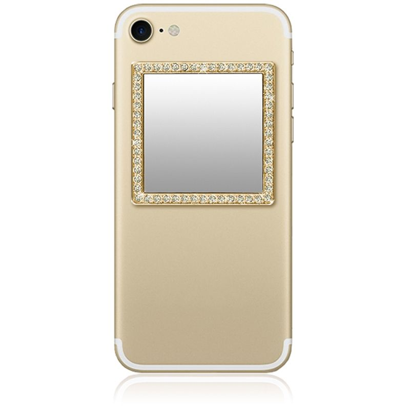 iDecoz Unbreakable Square Phone Mirror - Gold with Crystals