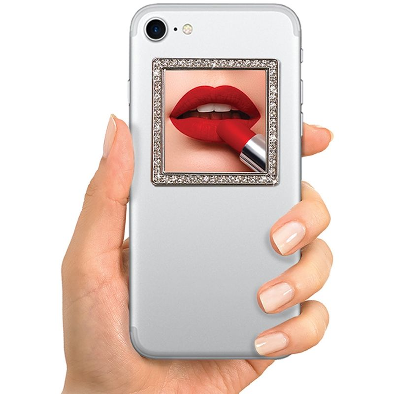 iDecoz Unbreakable Square Phone Mirror - Silver with Crystals