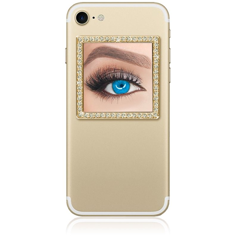 Unbreakable Square Phone Mirror - Gold with Crystals