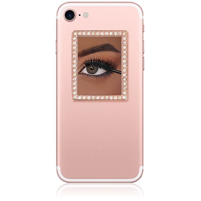 iDecoz Unbreakable Rectangle Phone Mirror - Rose Gold with Crystals