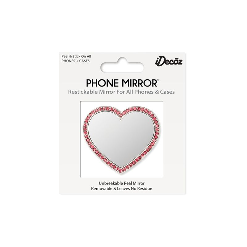 iDecoz Unbreakable Heart Phone Mirror - Silver with Pink Crystals