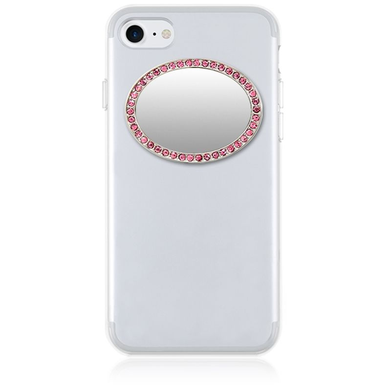 iDecoz Unbreakable Oval Phone Mirror - Silver with Pink Crystals