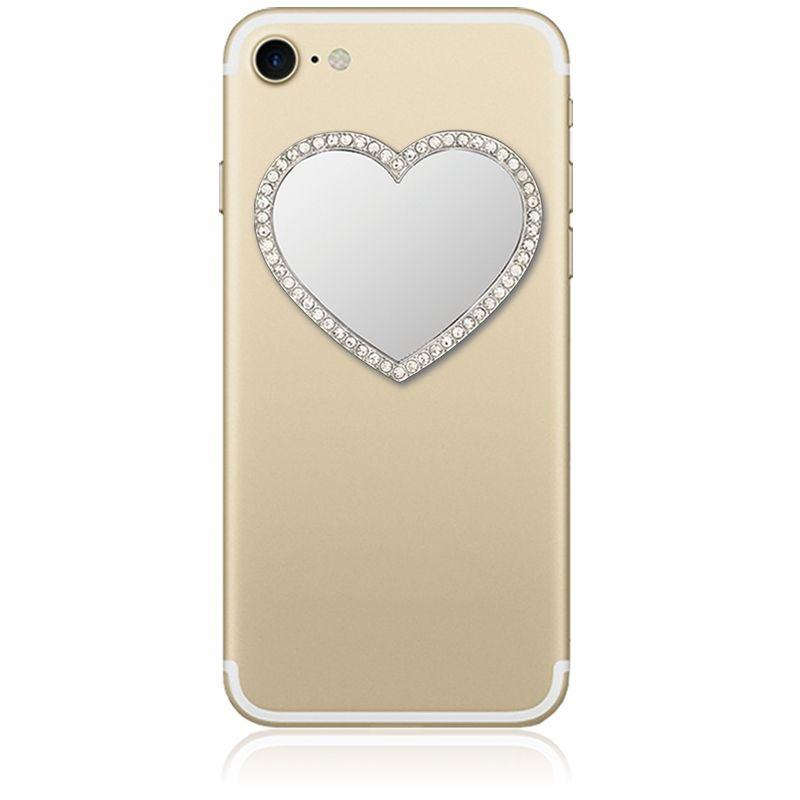 iDecoz מראת לב בלתי שבירה לטלפון - כסוף בשילוב קריסטלים