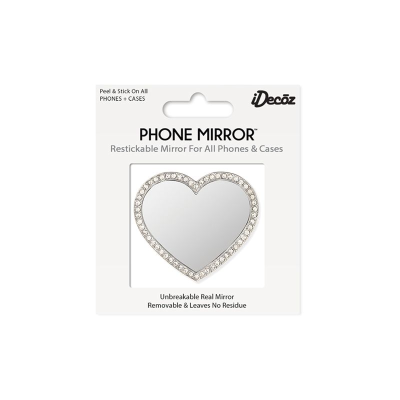 iDecoz Unbreakable Heart Phone Mirror - Silver with Crystals