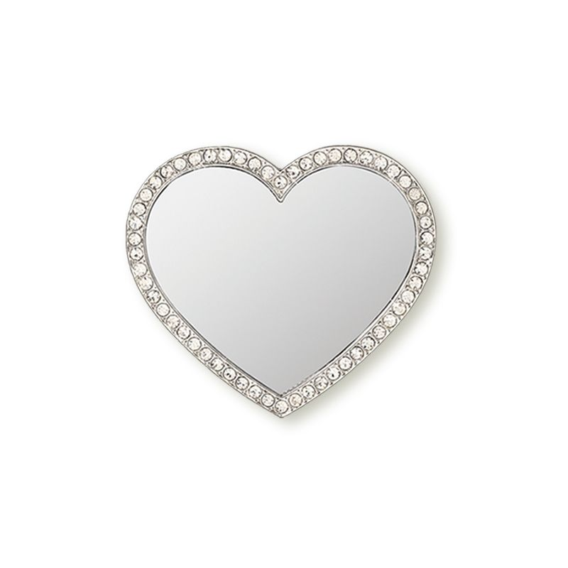 Unbreakable Heart Phone Mirror - Silver with Crystals